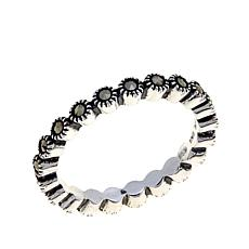 Black Marcasite Sterling Silver Scalloped Eternity Band
