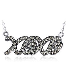 "Black Marcasite Sterling Silver ""XOXO"" 18"" Cable-Chain Necklace"