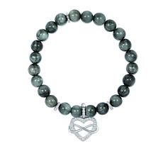 BlesT Sterling Silver Gemstone Bead Stretch Bracelet with Charm