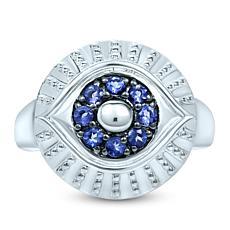 BlesT Sterling Silver Iolite Evil Eye Ring
