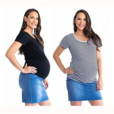 Blooming Women Body Hugging Maternity Tee 2-pack - Black/Black Stripes