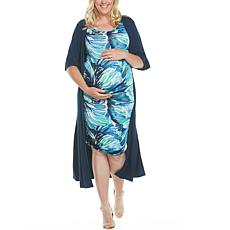 Blooming Women Ruched Body-Con Maternity Dress w/ Duster- Blue/Navy