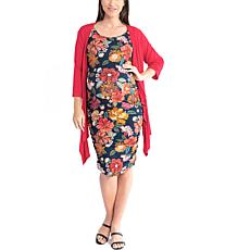 Blooming Women Ruched Body-Con Maternity Dress with Duster