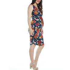 Blooming Women Sleeveless Ruched Body-Con Maternity Dress