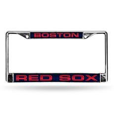 Blue Laser Chrome License Plate Frame - Boston Red Sox