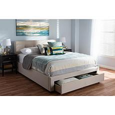 Brandy Fabric Upholstered Queen Size Storage Platform Bed