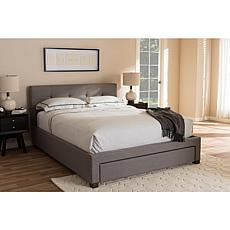 Brandy Fabric Upholstered Queen Size Storage Platform Bed