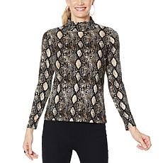 Brittany Humble Animal-Print Rib Mock-Neck Top