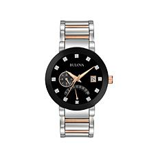 Bulova 2-Tone Black Dial Diamond Marker Bracelet Watch