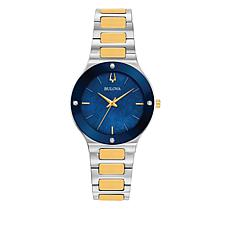 Bulova 2-Tone Women's Blue Dial Diamond-Accent Bracelet Watch