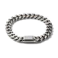 "Bulova Classic Men's 0.15ctw Diamond Clasp Chain-Link Bracelet - 7.5"""