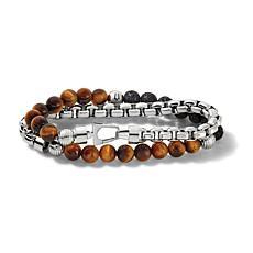 "Bulova Classic Men's Tiger's Eye and Lava Bead Chain Bracelet - 8"""