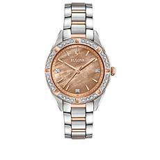 "Bulova ""Classic"" Pavé Diamond Rosetone and Silvertone Bracelet Watch"