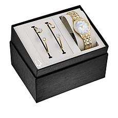 Bulova Crystal-Accented Goldtone Watch and 2-piece Cuff Bracelet Set