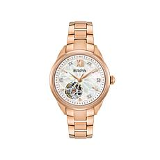 Bulova Diamond-Accented Rosetone Automatic Watch