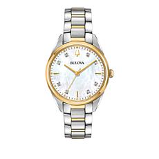 Bulova Diamond Marker 2-Tone Stainless Steel White Dial Bracelet Watch