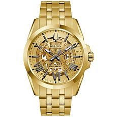 Bulova Goldtone Stainless Steel Men's Automatic Skeleton Watch
