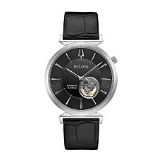 Bulova Men's Automatic Slim Black Leather Strap Watch