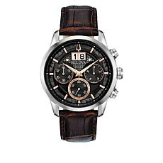Bulova Men's Black Dial Leather Strap Chronograph Watch