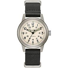 Bulova Men's Black Leather Military Style Automatic Watch