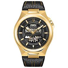 Bulova Men's Black/Gold-Tone Automatic Black Leather Strap Watch