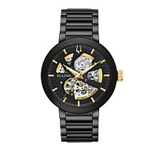 Bulova Men's Black/Goldtone Stainless Steel Automatic Bracelet Watch
