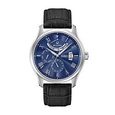 Bulova Men's Blue Dial Automatic Leather Strap Watch