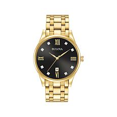 Bulova Men's Goldtone Diamond Marker Bracelet Watch