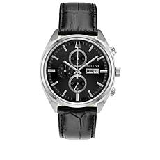 Bulova Men's Stainless Steel Black Leather Strap Chronograph Watch