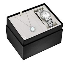 Bulova Mother-of-Pearl and Crystal Watch and Necklace Set