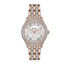 Bulova Rosetone Crystal Bezel and Bracelet Pavé Watch