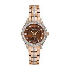 Bulova Rosetone Stainless Steel Women's Crystal Bracelet Watch