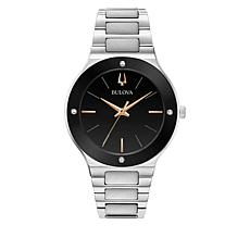 Bulova Silvertone Men's Diamond Accent Black Dial Bracelet Watch
