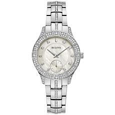 Bulova Stainless Steel Women's Crystal Bracelet Watch