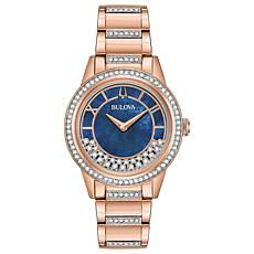 "Bulova ""TurnStyle"" Rosetone Stainless Women's Floating Crystal Watch"