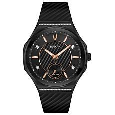 Bulova Women's CURV Diamond Black Stainless Steel Rubber Strap Watch