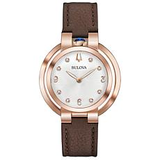 Bulova Women's Rubaiyat Diamond Brown Leather Strap Watch