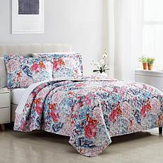Bunched Floral 3-piece Queen Quilt Set