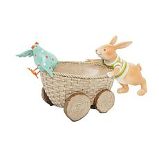 C&F Home Bunny Pushing Basket with Chick Hard Figure