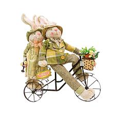 C&F Home Cycling Bunny Couple Hard Figure