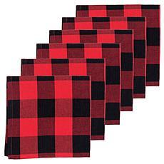 C&F Home Franklin Black/Red Napkin Set of 6