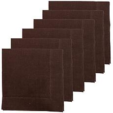 C&F Home Hemstitch Cocoa Napkin Set of 6