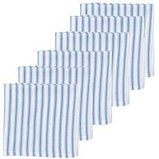 C&F Home Ticking Stripe Cornflower Cotton Napkin Set of 6