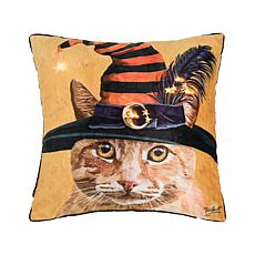 C&F Home Witch Cat Chuck LED Pillow