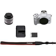 Canon EOS M50 Mark II Mirrorless Digital Camera w/15-45mm Lens - White