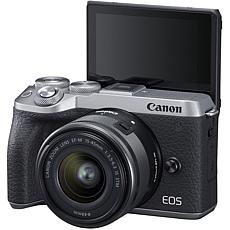 Canon EOS M6 Mark II Digital Camera w/15-45mm Lens & Viewfinder-Silver
