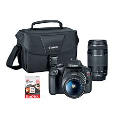 Canon EOS Rebel T7 DSLR Camera w/18-55mm & 75-300mm Lenses & Voucher