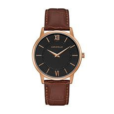 Caravelle by Bulova Men's Rosetone Brown Leather Strap Watch