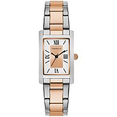 Caravelle by Bulova Two-Tone Rosetone Women's Rectangular Dial Watch