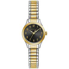 Caravelle by Bulova Two-Tone Women's Black Dial Expansion Band Watch